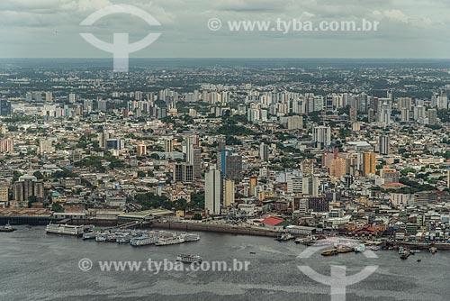 Vista aérea do Rio Negro e de parte de Manaus  - Manaus - Amazonas (AM) - Brasil