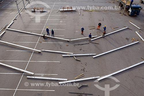 Hospital de campanha sendo montado no Estádio Célio de Barros ao lado do Estádio do Maracanã - Crise do Coronavírus  - Rio de Janeiro - Rio de Janeiro (RJ) - Brasil