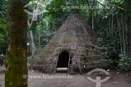 Kijeme, nome Pataxó para oca - feita de cobertura de piaçava e paredes de argila e pau a pique - Reserva Pataxó da Jaqueira  - Porto Seguro - Bahia (BA) - Brasil