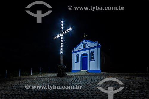 Vista noturna da Capela de Santa Rita, também conhecida como Capelinha  - Guarani - Minas Gerais (MG) - Brasil
