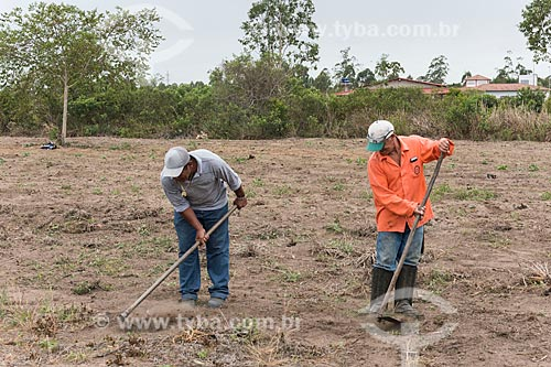 Indígenas roçando terreno para plantio - Terra Indígena Pau Brasil da etnia Tupiniquim - ACRÉSCIMO DE 100% SOBRE O VALOR DE TABELA  - Aracruz - Espírito Santo (ES) - Brasil