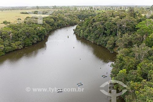 Foto feita com drone de tanques para criação de peixes - Terra Indígena Pau Brasil da etnia Tupiniquim - ACRÉSCIMO DE 100% SOBRE O VALOR DE TABELA  - Aracruz - Espírito Santo (ES) - Brasil