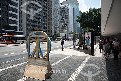 Vitruviano Parede - Releitura da obra, O Homem Vitruviano, de Leonardo da Vinci - na Avenida Paulista  - São Paulo - São Paulo (SP) - Brasil