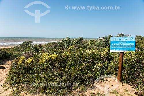 Placa de sinalização em trilha no Parque Estadual Paulo Cesar Vinha  - Guarapari - Espírito Santo (ES) - Brasil