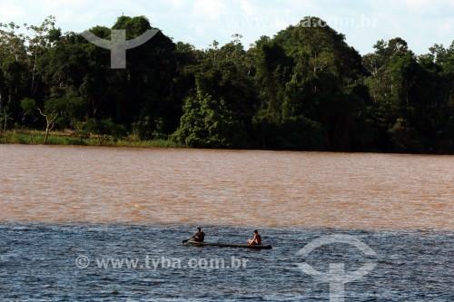Encontro das aguas do Rio Abacaxis, de água negra, e do Rio Urariá - Nova Olinda do Norte - Amazonas (AM) - Brasil
