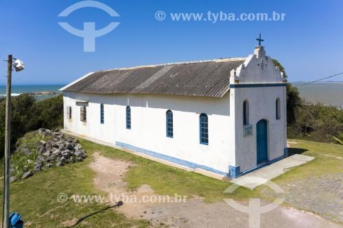 Foto feita com drone da Paróquia Nossa Senhora de Nazaré na praia Ponta da Fruta - Vila Velha - Espírito Santo (ES) - Brasil