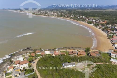 Foto feita com drone da Paróquia Nossa Senhora de Nazaré e da praia Ponta da Fruta - Vila Velha - Espírito Santo (ES) - Brasil