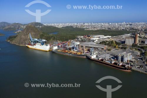 Foto feita com drone de navios cargueiros no Porto de Via Velha - Pedra do Penedo ao fundo - Vila Velha - Espírito Santo (ES) - Brasil