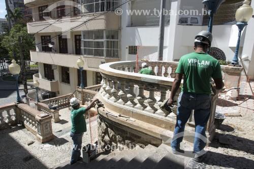 Serviço de manutenção e reorma na Escadaria de São Diogo - Centro histórico da cidade - Vitória - Espírito Santo (ES) - Brasil