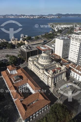 Vista de Cima da Assembleia Legislativa do Estado do Rio de Janeiro (ALERJ) - 1926 e do Paço Imperial (1743) - Rio de Janeiro - Rio de Janeiro (RJ) - Brasil