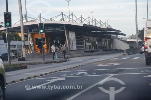 Estação do BRT Transcarioca - Estação Boque Marapendi - na Avenida das Américas - Rio de Janeiro - Rio de Janeiro (RJ) - Brasil