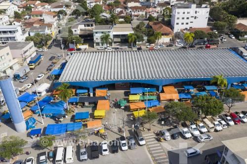 Foto feita com drone do Mercado Municipal da cidade - Aracruz - Espírito Santo (ES) - Brasil