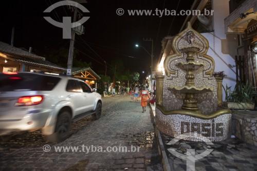 Fonte na Avenida Baía dos Golfinhos à noite - Tibau - Rio Grande do Norte (RN) - Brasil