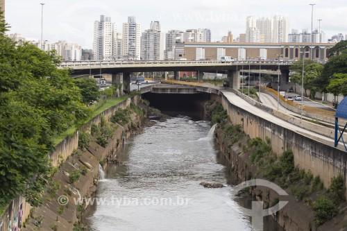 Rio Tamanduateí com a foz do Córrego do Glicério à direita e viaduto Leste-Oeste ao fundo - São Paulo - São Paulo (SP) - Brasil