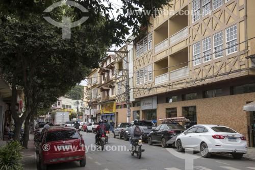 Rua comercial com edifícios com características pomeranas - Santa Maria de Jetibá - Espírito Santo (ES) - Brasil
