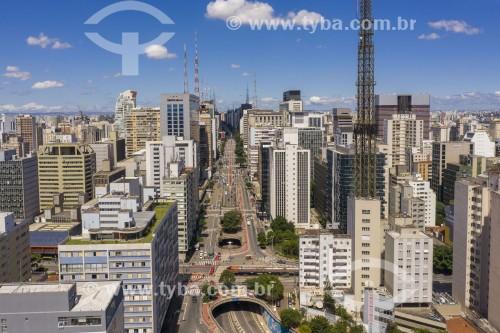 Foto feita com drone da Avenida Paulista - Ruas vazias devido à Crise do Coronavírus - São Paulo - São Paulo (SP) - Brasil