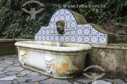 Detalhe de banheira e fonte na Floresta da Tijuca próximo à Cascatinha Taunay - Rio de Janeiro - Rio de Janeiro (RJ) - Brasil