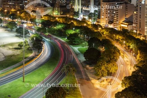 Vista noturna da Avenida das Nações Unidas na orla da Praia de Botafogo - Rio de Janeiro - Rio de Janeiro (RJ) - Brasil