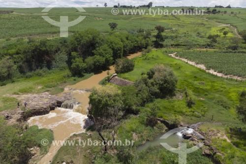 Foto feita com drone da Cachoeira do Caidô no ribeirão Fregadoli - Charqueada - São Paulo (SP) - Brasil