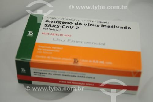 Caixa da vacina contra a Covid-19 fabricada pelo Instituto Butantan - São José do Rio Preto - São Paulo (SP) - Brasil