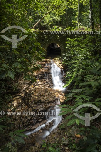 Riacho passando embaixo de antiga ponte - Floresta da Tijuca - Rio de Janeiro - Rio de Janeiro (RJ) - Brasil