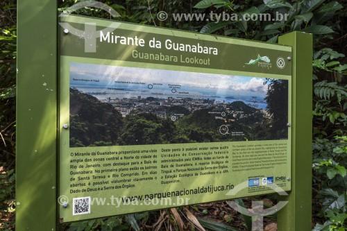 Placa informativa sobre o Mirante da Guanabara - no Parque Nacional da Tijuca  - Rio de Janeiro - Rio de Janeiro (RJ) - Brasil