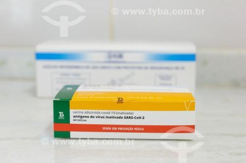 Caixa da vacina contra a Covid-19 fabricada pelo Instituto Butantan - Guarani - Minas Gerais (MG) - Brasil