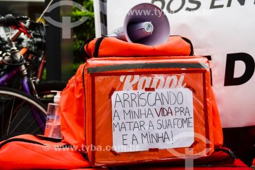 Protesto de Entregadores via aplicativo por melhores condições de trabalho - Porto Alegre - Rio Grande do Sul - Brasil