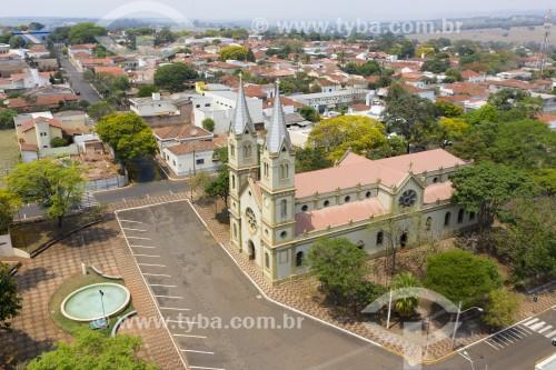 Foto feita com drone da Centro de Brotas - Igreja Matriz Nossa Senhora das Dores na Praça Benedito Calixto - Brotas - São Paulo (SP) - Brasil