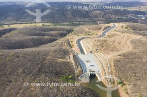 Foto feita com drone da captação de água no Reservatório Jati da Transposição do Rio São Francisco para abastecer o CAC - Cinturão de Águas do Ceará - Jati - Ceará (CE) - Brasil