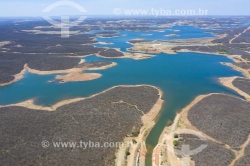 Foto feita com drone do Reservatório Milagres da Transposição do Rio São Francisco - eixo norte - Salgueiro - Pernambuco (PE) - Brasil