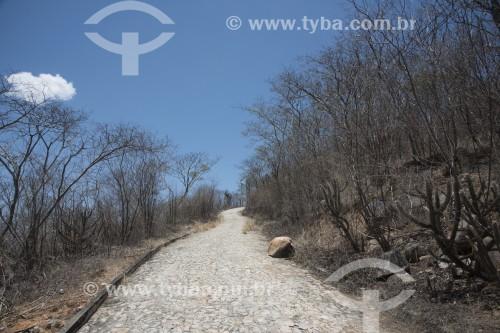 Estrada de pedra em paisagem do sertão pernambucano no período da seca - Salgueiro - Pernambuco (PE) - Brasil