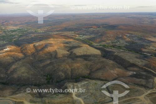 Foto feita com drone de paisagem de caatinga na seca - Jati - Ceará (CE) - Brasil