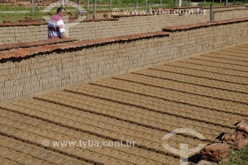 Proprietário checando a produção de tijolos em olaria - José Bonifácio - São Paulo (SP) - Brasil