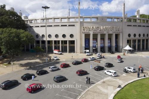 Foto feita com drone da Vacinação contra Covid 19 no Estádio do Pacaembú - Sistema drive-thru - São Paulo - São Paulo (SP) - Brasil