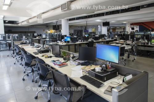 Redação do jornal Folha de São Paulo sem ninguém - Jornalistas trabalhado em home office em função da crise do Coronavírus - São Paulo - São Paulo (SP) - Brasil