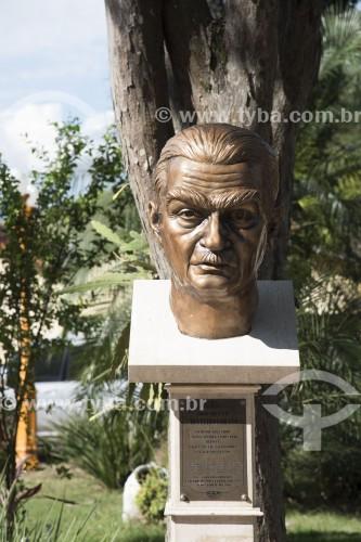 Busto de Monteiro Lobato - monumento em homenagem ao escritor José Bento Monteiro Lobato na Praça Deputado Cunha Bueno - Monteiro Lobato - São Paulo (SP) - Brasil