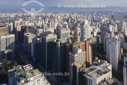 Foto feita com drone da Avenida Paulista - Sentido zona oeste - São Paulo - São Paulo (SP) - Brasil