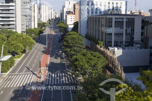 Foto feita com drone da Avenida Paulista - Sentido Consolação - São Paulo - São Paulo (SP) - Brasil