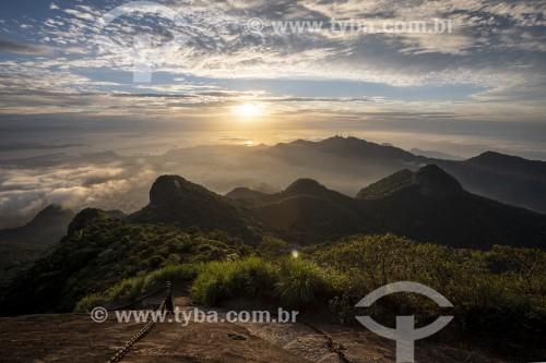 Amanhecer no Rio de Janeiro visto do Pico da Tijuca - Parque Nacional da Tijuca - Rio de Janeiro - Rio de Janeiro (RJ) - Brasil