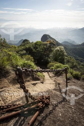 Escadaria de acesso ao Pico da Tijuca - Escada esculpida na rocha - Parque Nacional da Tijuca - Rio de Janeiro - Rio de Janeiro (RJ) - Brasil