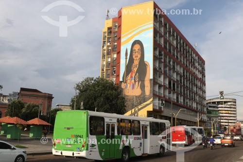 Vista do Hotel Amazonas (edifício Ajuricaba), transformado em condomínio residencial e comercial - Manaus - Amazonas (AM) - Brasil