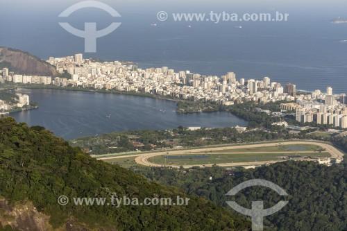 Vista geral dos bairros Lagoa, Leblon e Ipanema a partir da trilha do Morro do Queimado  - Rio de Janeiro - Rio de Janeiro (RJ) - Brasil