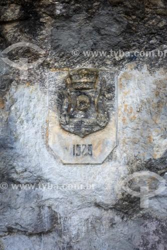 Brasão de armas histórico(1929) esculpido em rocha - Parque Nacional da Tijuca - Rio de Janeiro - Rio de Janeiro (RJ) - Brasil
