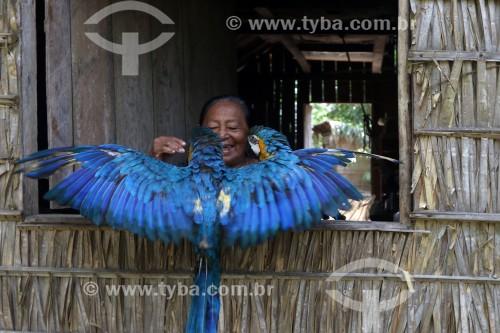 Mulher idosa com araras na aldeia Tatuyo no Rio Negro - Manaus - Amazonas (AM) - Brasil