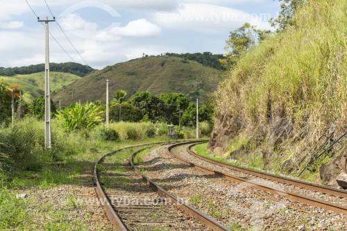 Trilhos de ferrovia no interior do Rio de Janeiro - Vassouras - Rio de Janeiro (RJ) - Brasil