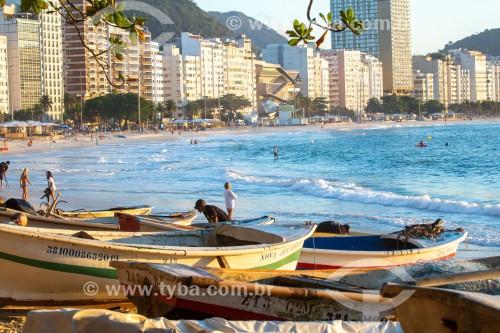 Barcos de pesca - Colônia de pescadores Z-13 - no Posto 6 da Praia de Copacabana - Rio de Janeiro - Rio de Janeiro (RJ) - Brasil