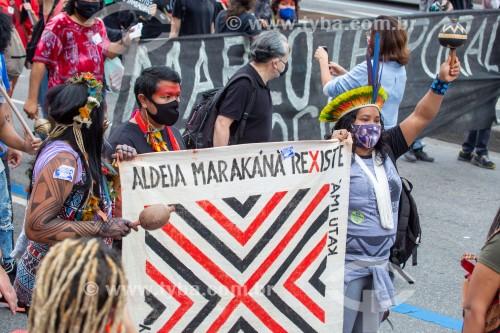 Índios da aldeia Marakana - Manifestação em oposição ao governo do presidente Jair Messias Bolsonaro - Rio de Janeiro - Rio de Janeiro (RJ) - Brasil