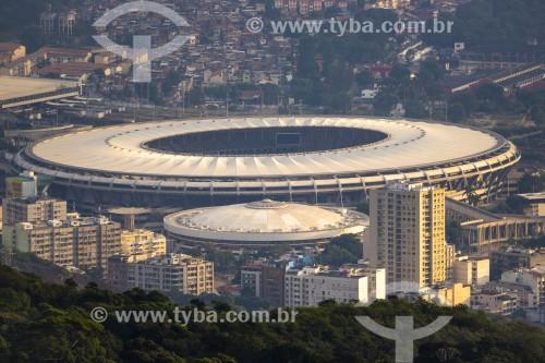 Vista do Estádio Jornalista Mário Filho (1950) - mais conhecido como Maracanã - durante o nascer do sol - Rio de Janeiro - Rio de Janeiro (RJ) - Brasil