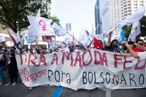 Manifestação em oposição ao governo do presidente Jair Messias Bolsonaro - Rio de Janeiro - Rio de Janeiro (RJ) - Brasil